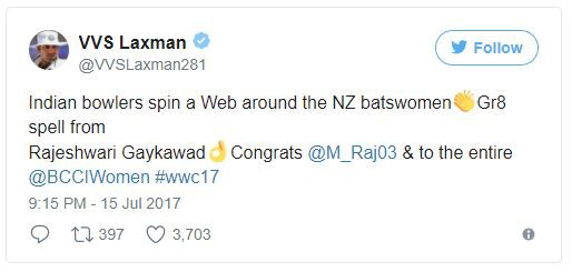 vvs laxman's tweet to congratulate Women Indian Cricket Team-ICC World cup