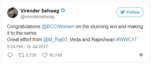 Virender Sehwag's congratulation for Women Indian Cricket Team on tweet