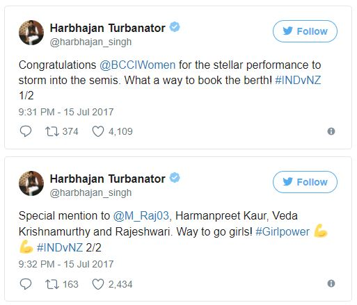 Harbhajan congratulating Women Indian Cricket Team