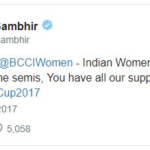 Gautam Gambhir's tweet on Women Indian Cricket Team