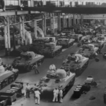 Jeeps and tanks, guns were built during World War II