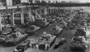 World War II-Jeeps and tanks, guns were built during World War II