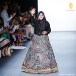 The muslim fashion designer anniesa hasibuan in new york fashion week catwalk.