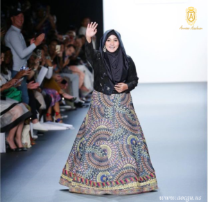 The muslim fashion designer anniesa hasibuan in new york fashion week catwalk.