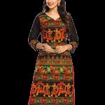 Jevi Prints Unstitched Cotton Multicolor Kalamkari Printed Kurti Fabric