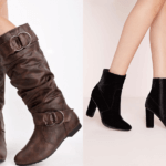 leather and velvet boot
