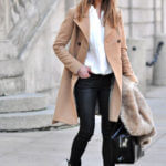 light long coat and black pants with boots